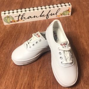Girls' Goody Two Shoes White Leather Tennis Shoes